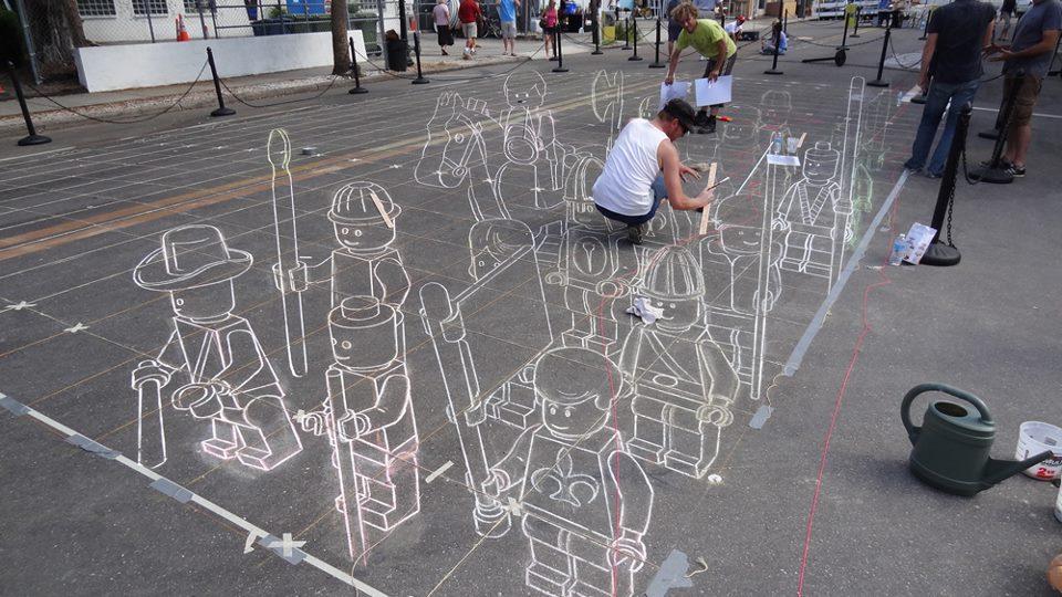 Street Art Lego à la craie - le traçage des repères