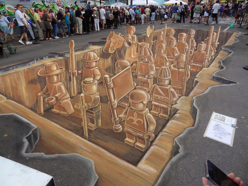 Street Art Lego à la craie - rendu final