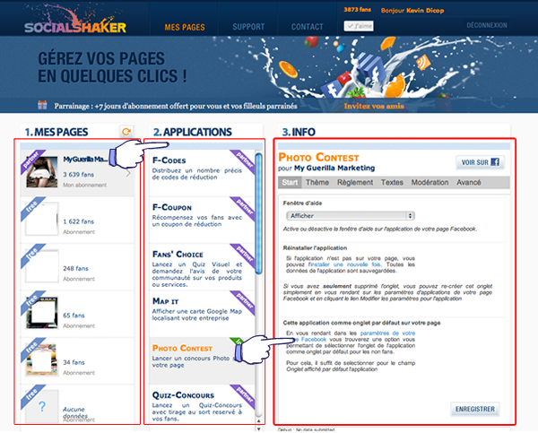 applications socialshaker pour concours, bienvenue, vidéos, presentation...