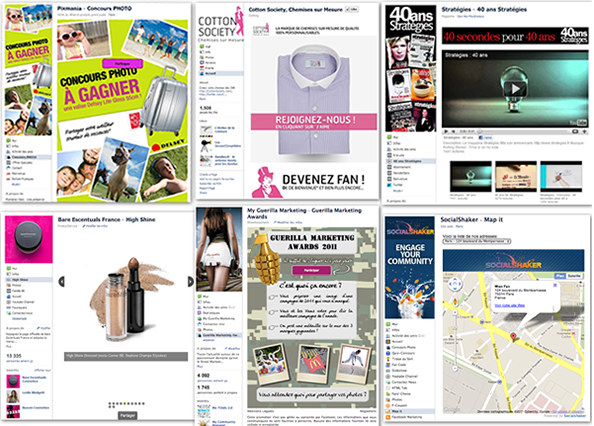 applications facebook socialshaker pour concours, bienvenue, vidéos, presentation...