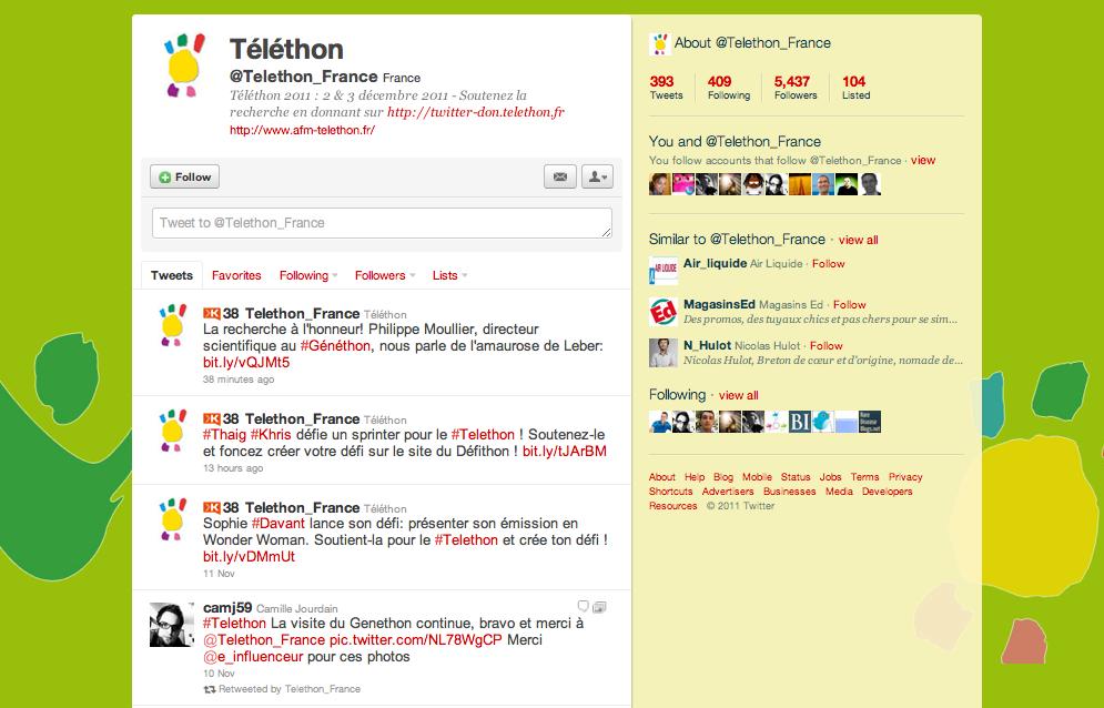 Compte Twitter du Telethon @Telethon_France