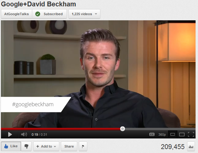 David Beckham sur Google+