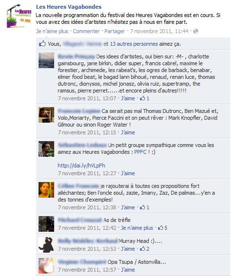 Exemple de démarche participative sur le mur de la page des Heures Vagabondes