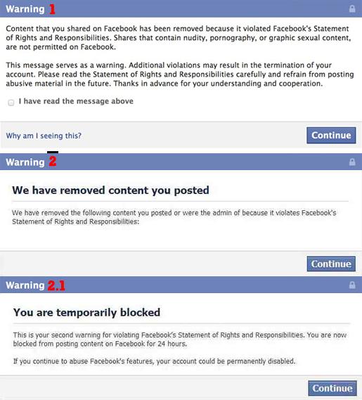 Messages d'avertissement Facebook