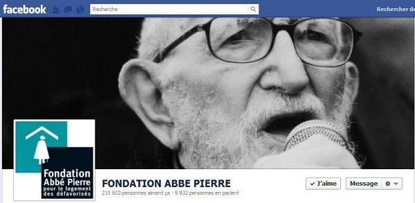 Page Facebook de la Fondation Abbé Pierre