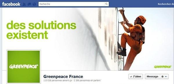 Page Facebook de Greenpeace France