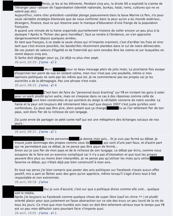 Echanges acerbes sur un post politique facebook