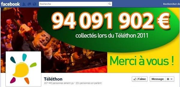 Page Facebook du Telethon