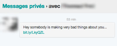Spam en MessagePrivé Twitter