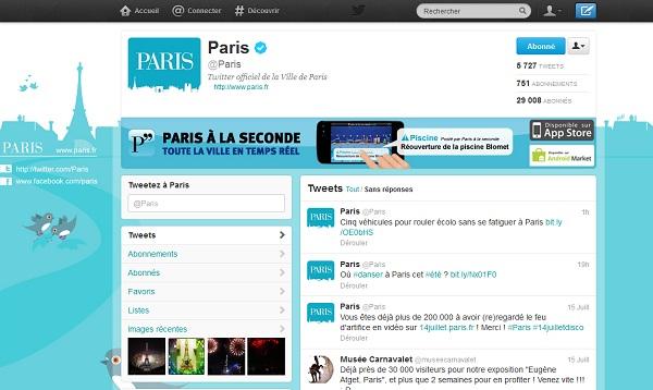 Profil Twitter de la ville de Paris