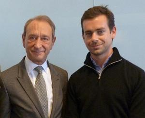 Bertrand Delanoë, maire de Paris, et Jack Dorsey, créateur de Twitter