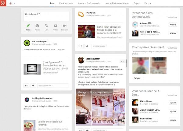 Le flux d'actu Google+ nouvelle génération