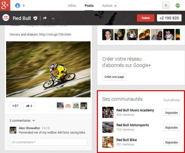 Les communautés Google Plus liées à une page