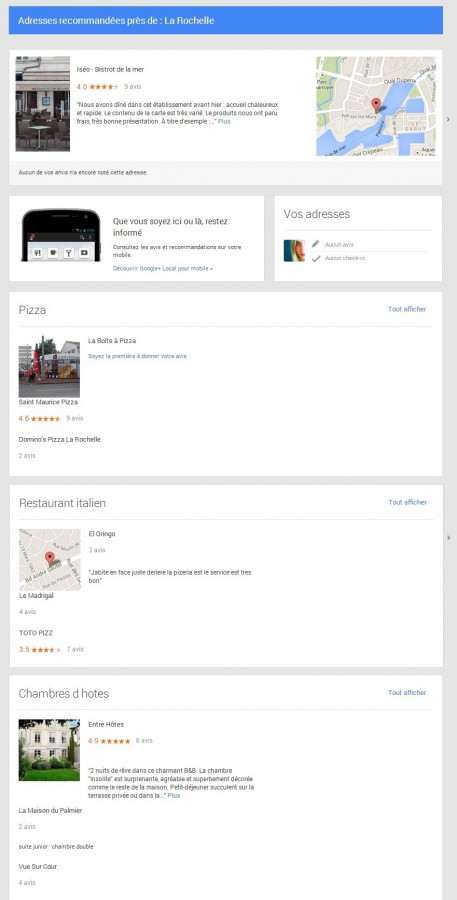 "Voilà ce que me montre la section ""local"" de Google +. Ou comment booster le commerce de proximité."