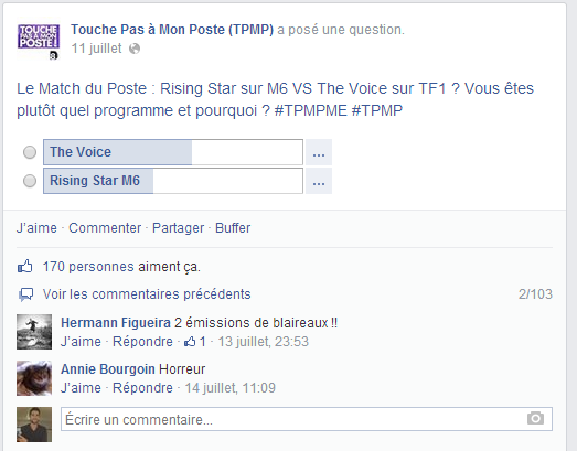 Un sondage sur la page Facebook de TPMP