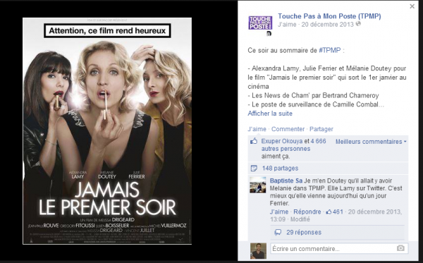 Post Facebook de promotion des invités de l'émission TPMP