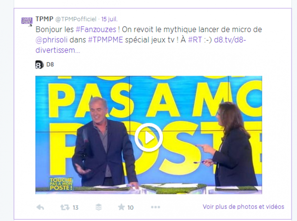 Post Facebook pour l'émission TPMP