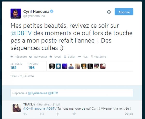 Un tweet de Cyril Hanouna pour Touche Pas à Mon Poste