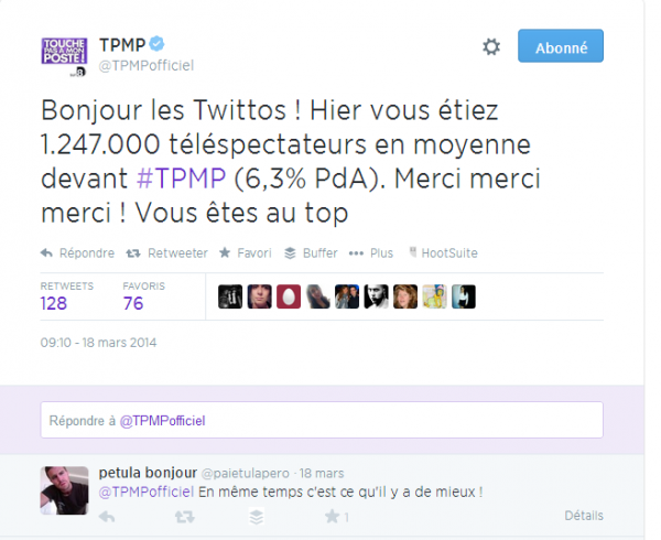 Audiences de TPMP en tweet