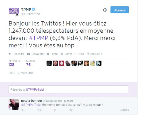 Audiences de TPMP en tweet