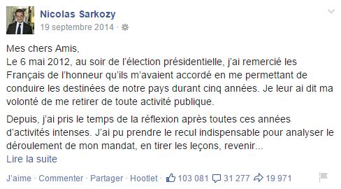 Le retour de Nicolas Sarkozy en politique à travers un post sur Facebook