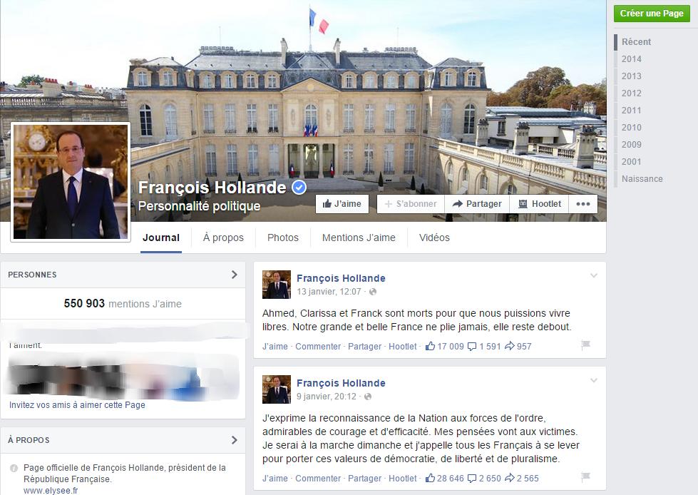La page Facebook de François Hollande