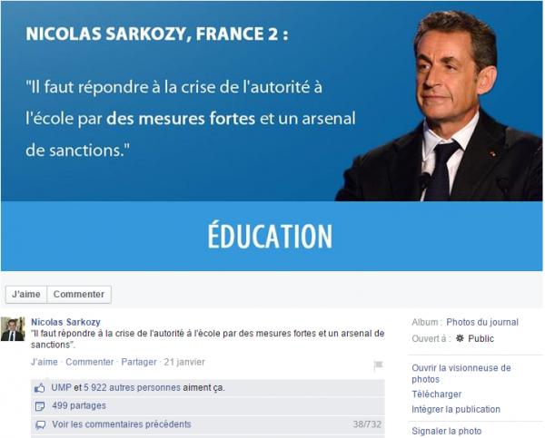 Un post de Nicolas Sarkozy su Facebook