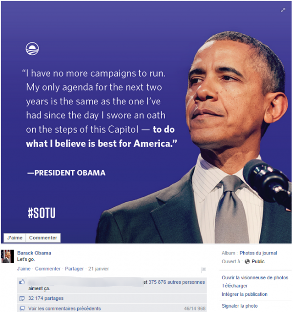 "Un post Facebook ""citation"" de Barack Obama"