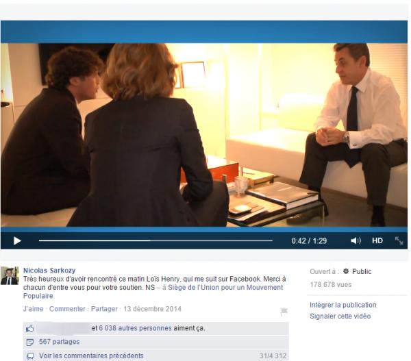 Nicolas Sarkozy rencontre son millionième fan Facebook
