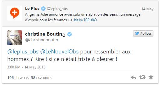 Dérapage de Christine Boutin dans un tweet politique
