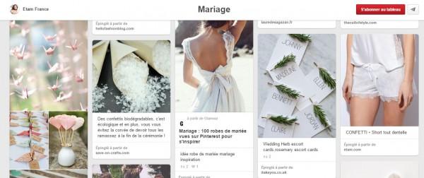 Bord mariage Pinterest - Le community management d'Etam
