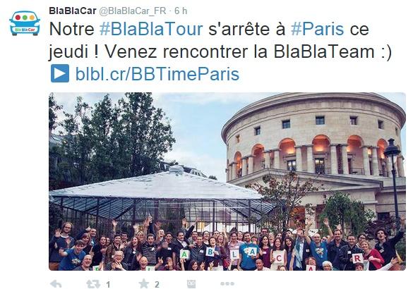 Twitter billet BlaBlaCar