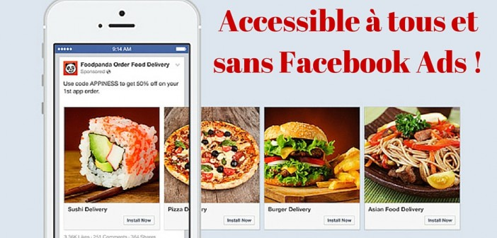 Le carrousel est disponible gratuitement pour les pages Facebook