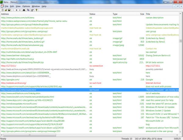 xenu-1.3.8-screenshot