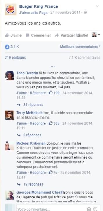 Commentaires Burger King